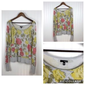 ~Hurley~ Light Grey Floral Sweater, Sz XL